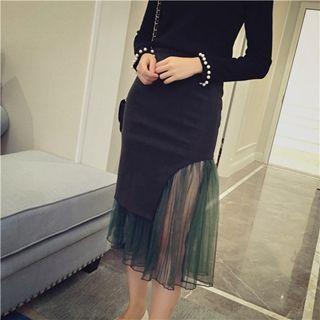 Mesh-panel Midi Skirt