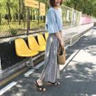 Patterned Wrap Midi Skirt