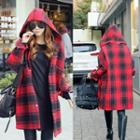 Plaid Hooded Knit Jacket