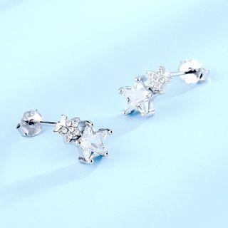 925 Sterling Silver Rhinestone Star Earring 1 Pair - 925 Silver - White - One Size