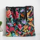 Flower Embroidered Tote Black - One Size