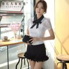 Short-sleeve Contrast-collar Lace Top