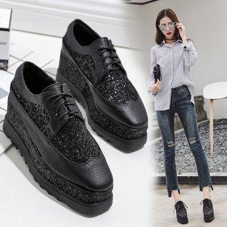 Platform Glitter Oxfords