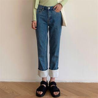 Color Block Trim Straight Cut Cropped Harem Jeans