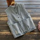 Buttoned Distressed Denim Vest
