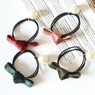 Bow Faux-pearl Layered Hair Tie