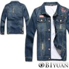 Distressed Applique Denim Jacket