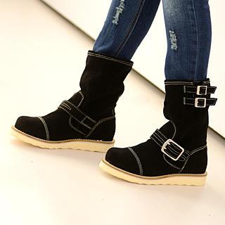 Genuine Suede Buckled Short Boots