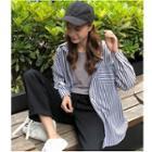 Pinstriped Shirt/ Drawstring Sweatpants