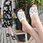 Wedge-heel Perforated Platform Slippers