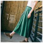 Drawstring Waist Maxi Skirt