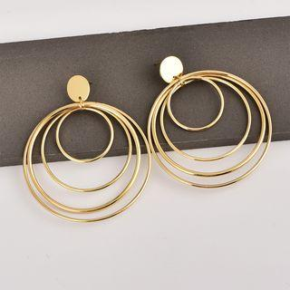 Alloy Layered Hoop Earring 1 Pair - As Shown In Figure - One Size