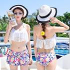 Set: Lace Bikini + Floral Swim Shorts