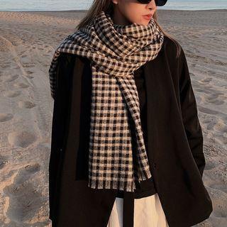 Gingham Fringed Scarf Black & White - One Size