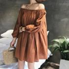 Long-sleeve Off-shoulder Plain A-line Dress