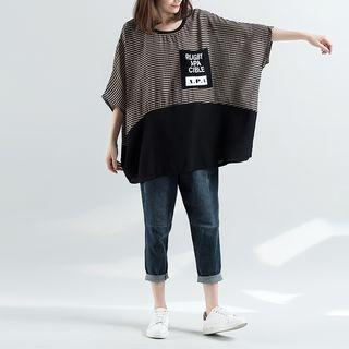 3/4-sleeve Loose-fit Top Black - One Size