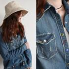 Snap-button Distressed Washed Denim Shirt
