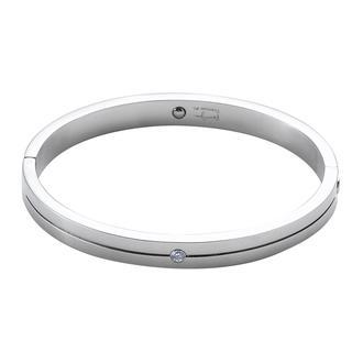 Titanium Bangle With 1 Crystal Steel - One Size