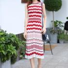 Chevron Patterned Midi Sleeveless Knit Dress
