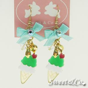 Mini Green Ice-cream Gold Ribbon Earrings