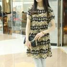 Drawstring-waist Patterned Dress