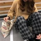 Wide Leg Plaid Pants As Shown In Figure - One Size