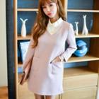 Long Sleeve Mock Two-piece Collared Dress