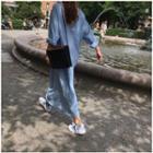 Long-sleeve Denim Maxi Shirt Dress