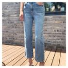Washed Striaght-cut Jeans