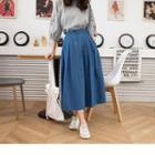 Pleated Denim Maxi Skirt