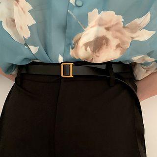Genuine Leather Holeless Belt Black - One Size