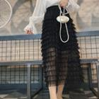 Lace A-line Midi Tiered Skirt