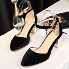 Velvet Chunky-heel Sandals