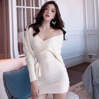 Long-sleeve Sashed Mini Bodycon Dress