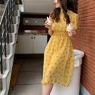 Short Sleeve Floral Printed Chiffon Midi Dress Yellow - One Size