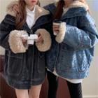 Fleece-lined Zip-up Denim Jacket
