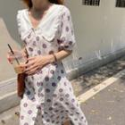 Collared Floral Printed Dress White - One Size