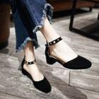 Studded Ankle Strap Low Heel Pumps