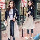 Color Block Long Trench Coat