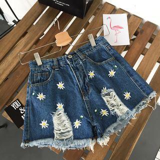 Floral Embroidered Distressed Denim Shorts