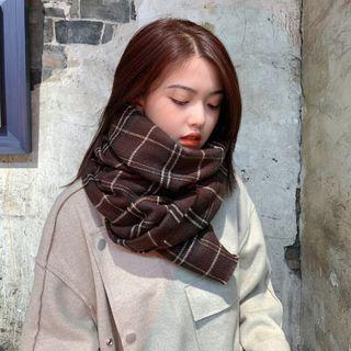 Plaid Scarf Wine Red - One Size