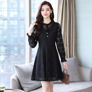 Long-sleeve Tie-neck Mini A-line Lace Dress