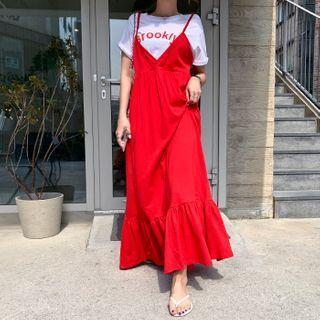 Vivid Frill-hem Maxi Pinafore Dress