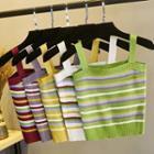 Sleeveless Strap Striped Knit Top