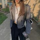 Patterned Double-breasted Blazer Black - One Size