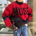 Lettering Contrast-trim Knit Top
