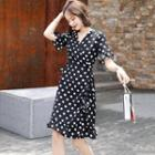 Ruffled Dotted A-line Dress