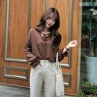 Frill-cuff Tie-front Top