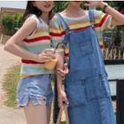 Striped Knit Tank Top / Striped Short-sleeve Knit Top