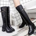 Faux Leather Block-heel Tall Boots